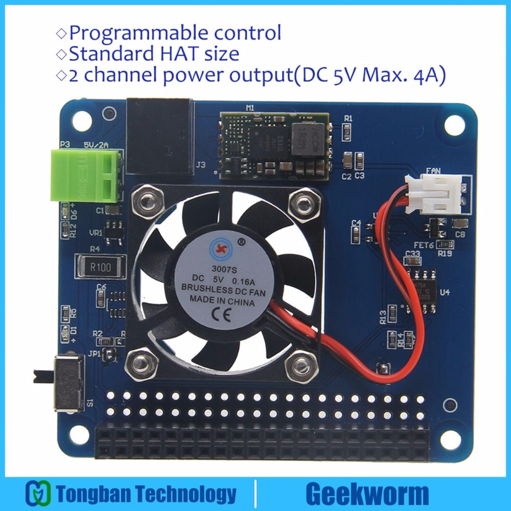 Raspberry Pi Modelo B/3B +(Plus)/3B programable Control de temperatura inteligente ventilador + de tabla de sombrero   Entrada 6V ~ 14V   DC 5V Max 4A fuera