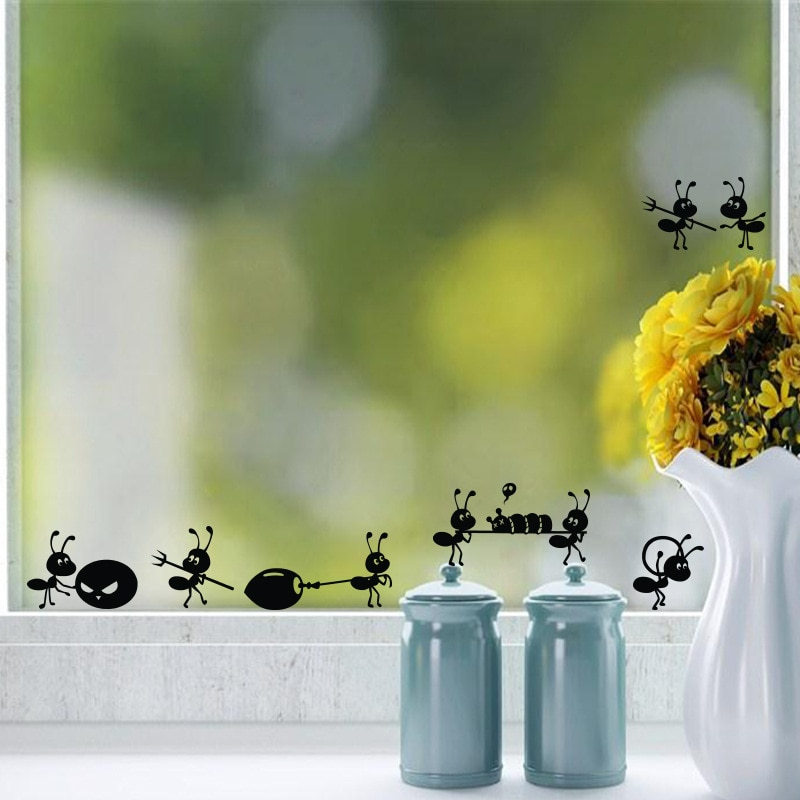AliExpress - Cartoon Black Ants move Wall Sticker for children's rooms Home Decor Glass windows Decoration poster Mural art Decals stickers