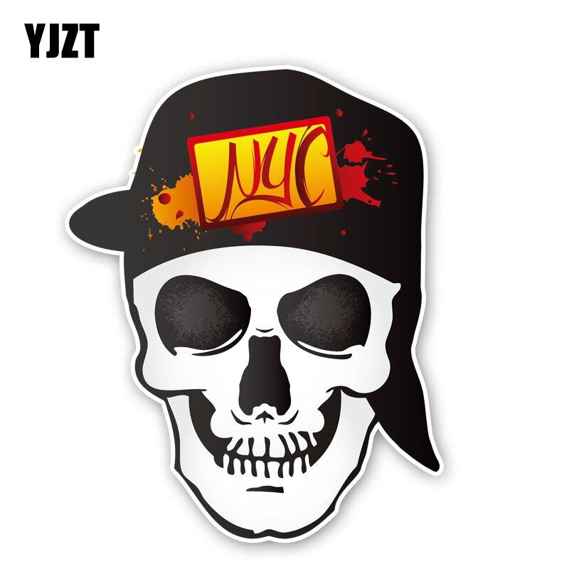 YJZT 10.5CM*13.3CM Fashion Skull Head Car Sticker Body Helmet Window Decal Car Accessories 6-2495