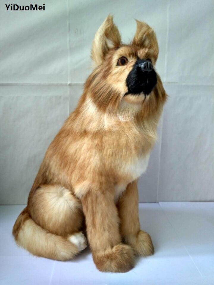 Pastor de Cócoras Decoração de Casa Grande Artificial Modelo Plástico Rígido & Peles Wolfhound Mobiliário Presente D1510 37x24x13 cm Cão