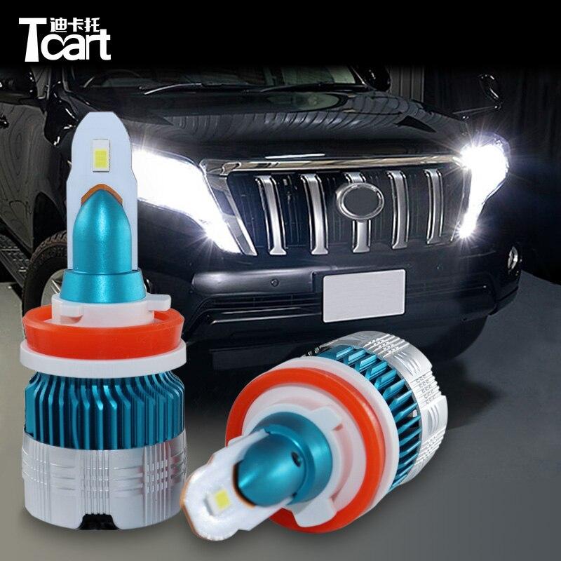 Tcart bombillas LED de faro delantero de coche Luz De Carretera 9005 bajo haz H11 conducción lámparas para Toyota land cruiser Prado 150, 2014, 2015, 2016, 2017