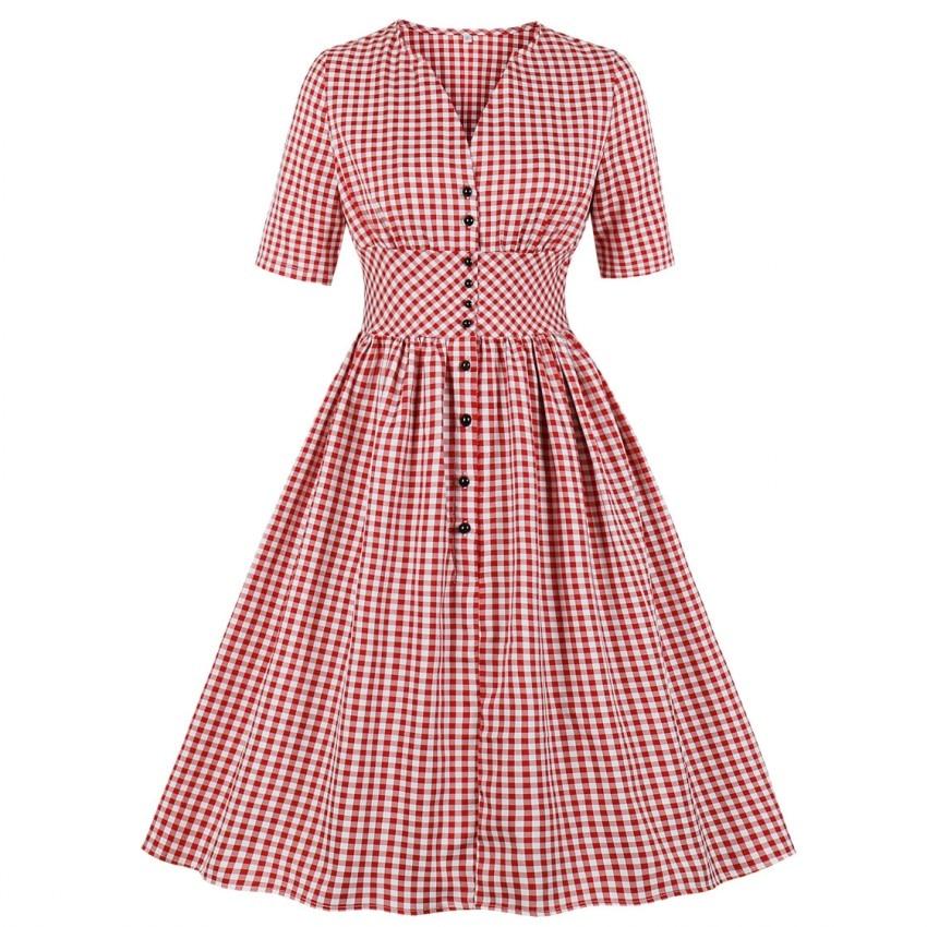 Women Summer Vintage Dress Plaid Print V-Neck Sleeveless Pin Up Vestidos Button Fly Evening Party Rockabilly Retro Dress