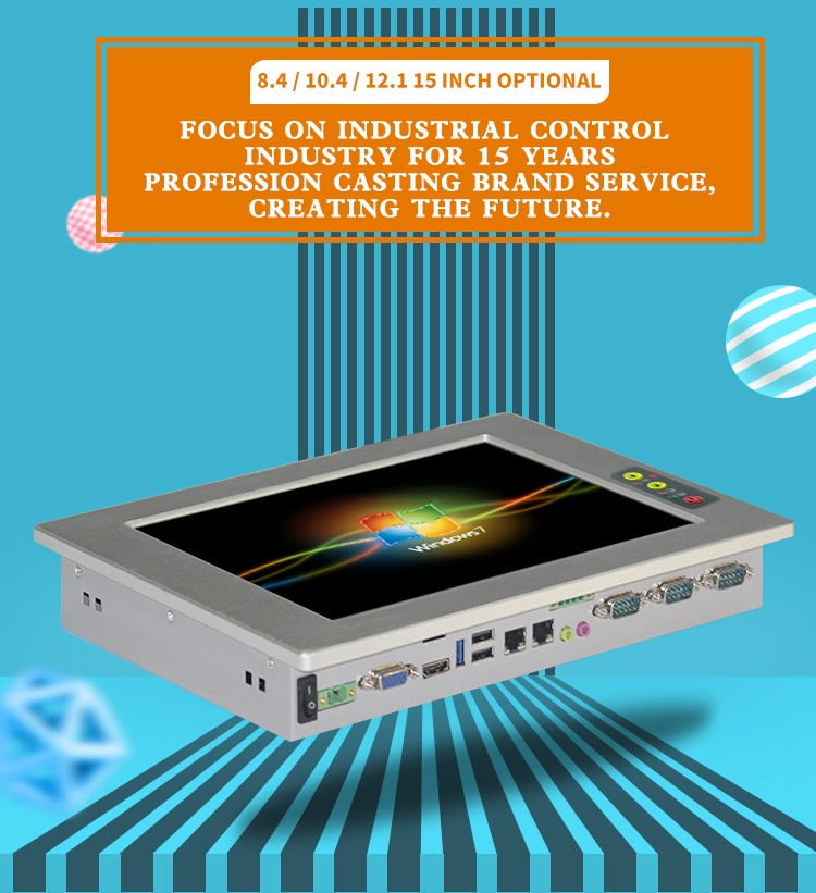 Front panel IP65 waterproof Fanless Rugged Tablet pc 8.4/10.4/12.1/ 15 Inch intel celeron j1900 Industrial Panel PC enlarge