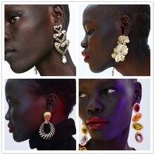 JUJIA 19 design women brand crystal earring 2019 new arrival party gift Za Vintage jewelry metal statement earrings