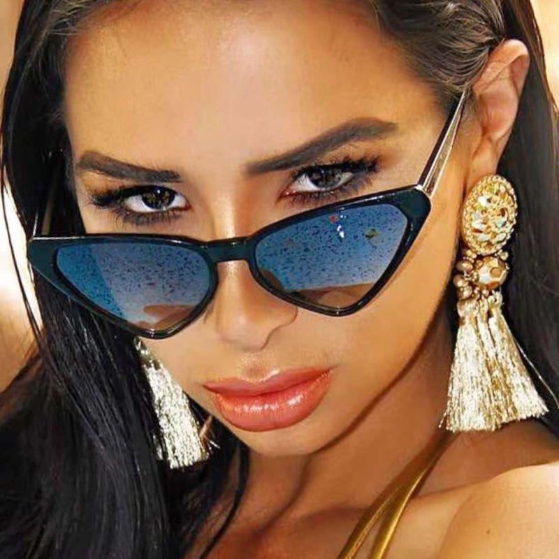 Солнцезащитные очки «кошачий глаз» UV400 женские, милые пикантные винтажные брендовые маленькие солнечные очки, 2021