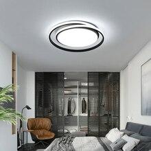 Sala de estar led lustre teto para cozinha quarto varanda lâmpada preto e branco redondo lustre moderno AC85-260V