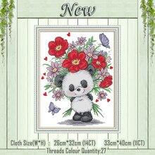 Oso dando flores animales panda pintura lienzo estampado con cuentas DMC 14CT 11CT juegos de costura de punto de Cruz kits bordado