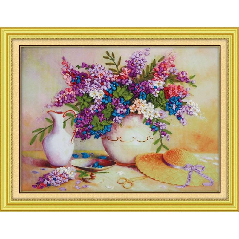 Recién llegado kit de costura DIY 3d punto de cruz bordado de cinta sin terminar pintura púrpura Lila flores costura artesanal