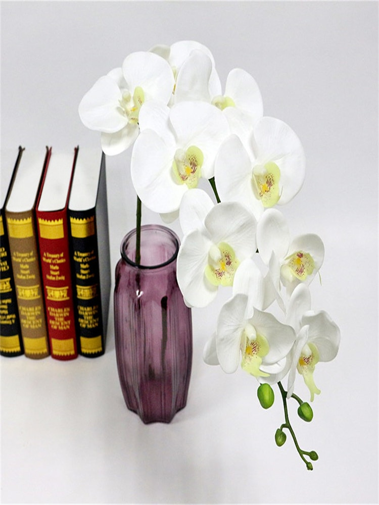 Flores artificiales Phalaenopsis orquídea flor Real toque falso mariposa roja orquídea flores artificiales plantas boda decoración del hogar