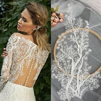 4 pieces 2 pairs beautiful clear sequin cotton embroidery wedding gown lace applique fine embroidery leaf lace patch 5423
