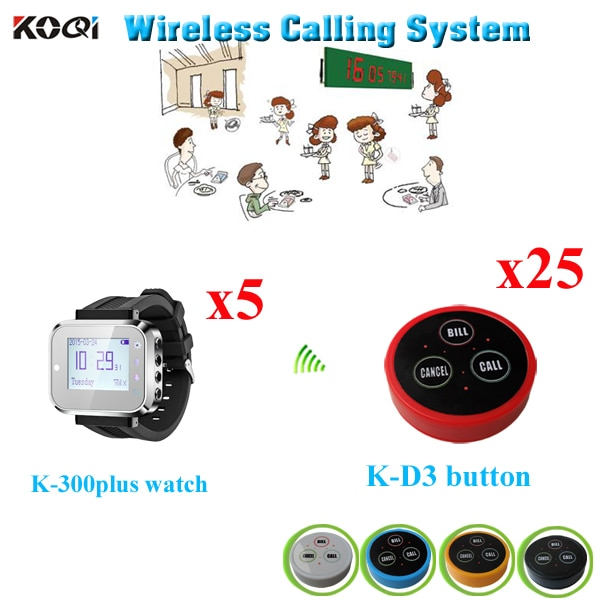 Table Ordering System Fashion Nice Design Popular In Restaurant Pager Equipment( 5pcs watch + 25pcs call buzzer)