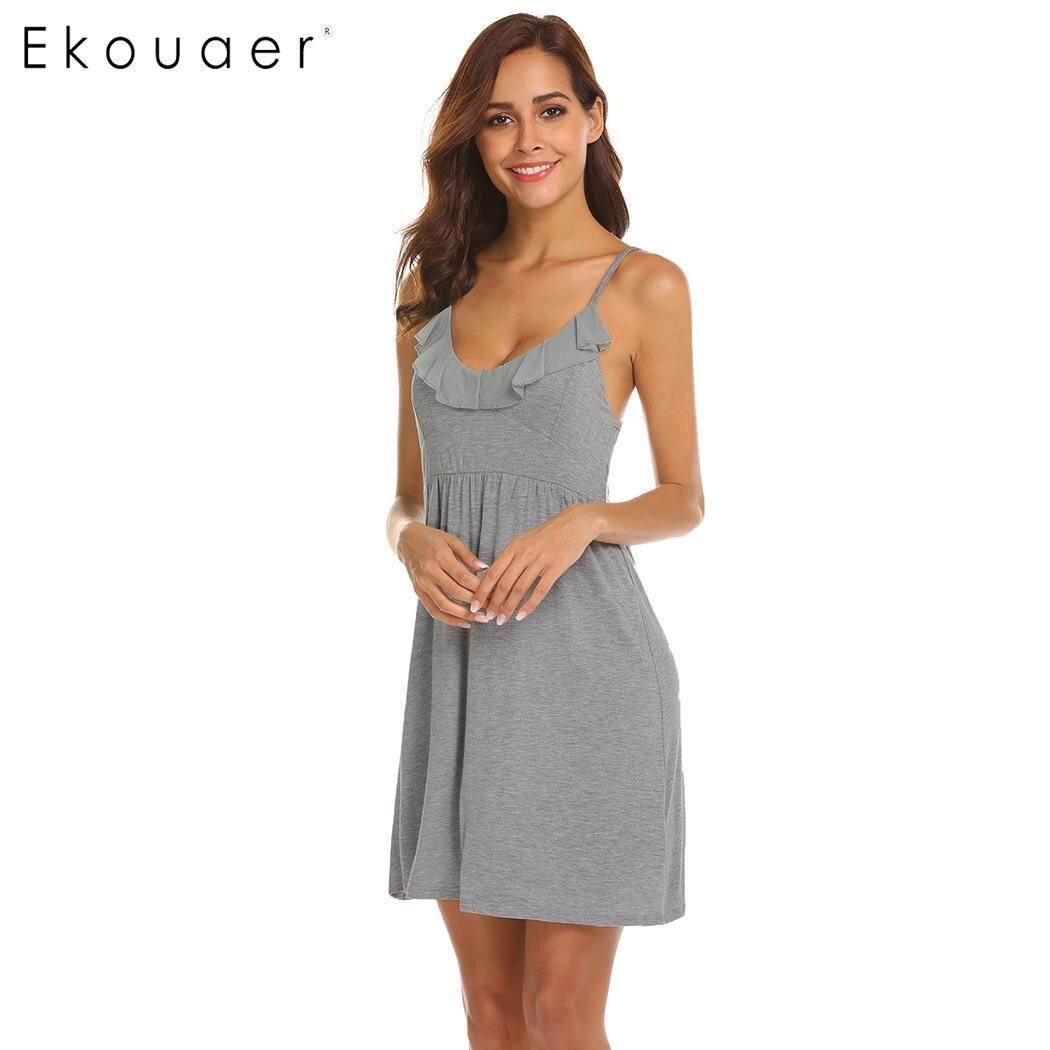 Ekouaer camisón de lencería Sexy vestido de noche para mujer sólido sin mangas Mini Spaghetti Strap Ruffle Nighties ropa de dormir vestido de noche