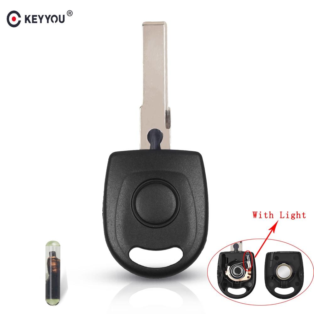 Carcasa transpondedor llave de coche KEYYOU 10x con Chip ID48 para VW Polo Golf PARa SEAT Ibiza Leon para SKODA Octavia con luz y batería