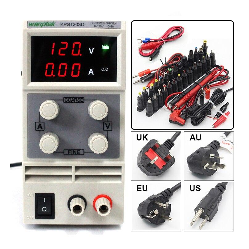 KPS1203D Ajustável de Alta precisão dupla display LED interruptor de Alimentação DC função de proteção 120V3A 110 v/220 v 0.1 v/0.01A UE
