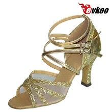 Evkoodance  Pu And Sparking Golden Sliver Much Strap Heel Height 8cm Design For Ladies Latin Tango Dance Shoes Evkoo-128