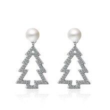 Trendy Christmas Tree Pearl 925 Sterling Silver Ladies Stud Earrings Original Jewelry For Women Anti Allergy Gift