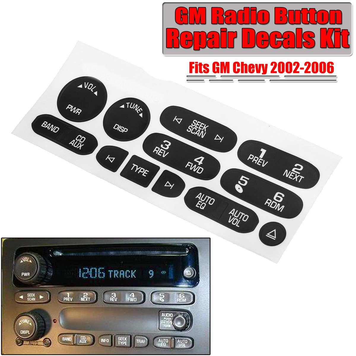 Kit de calcomanías de reparación de botón de Audio de Radio de coche negro mate para GM para Chevy 2002-2006 interruptor botón de Control pegatinas para reparar
