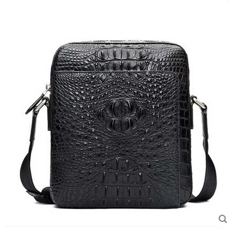 hlt Thai crocodile single shoulder men bag  authentic male zipper high-volume business high-end men inclined shoulder handbag