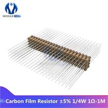 Resistor 100 do filme do carbono dos pces 5% 1/4 w 0.25 w 1r-1m ohm resistance1k 2.2 k 4.7 k 5.1 k 6.8 k 10 k 15 k 22 k 47 k 1% + 1% -1% diy eletrônico