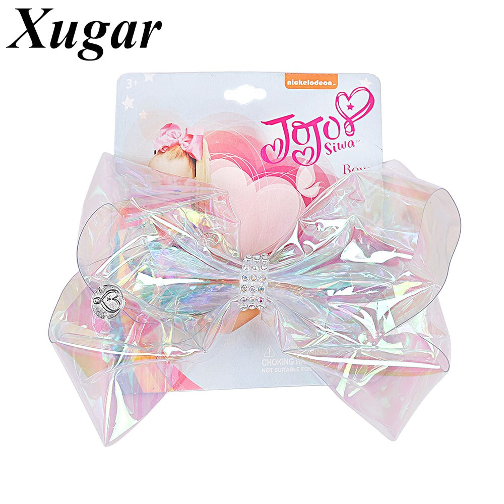 "6"" Jojo Siwa Transparent Rainbow Plastic JOJO BOWS Hair Bow for Girls Hair Clip Rhinestone Children Dance Party Hair Accessories"
