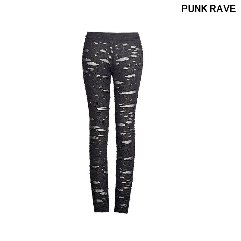 Mallas rasgadas con agujeros góticos de alta elasticidad de ganchillo, mallas rasgadas de Steampunk, pantalones sexis de malla rotos para mujer, K-099 PUNK RAVE