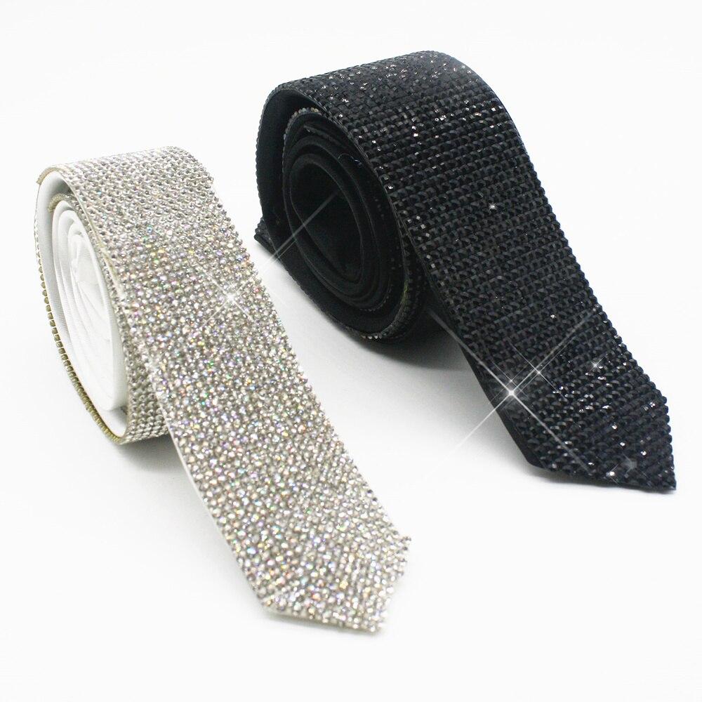 Collar de corbatas de diamantes de imitación de cristal negro hecho a mano para fiesta de graduación de boda