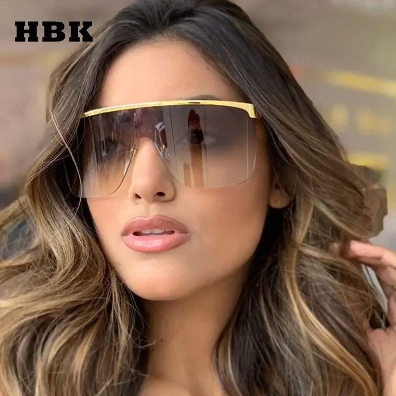 HBK Unisex Cool Square Sunglasses 2019 New Fashion Big Frame Sun Glasses Oversized One Piece Glasses For Outdoor Men Women UV400