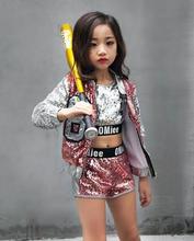 Kinderen Meisje Hip Hop Jazz Kostuum Moderne Ballroom Dans Slijtage Kleding Kids Lovertjes Sport Kleding Voor Meisjes 6 8 12 jaar Oud