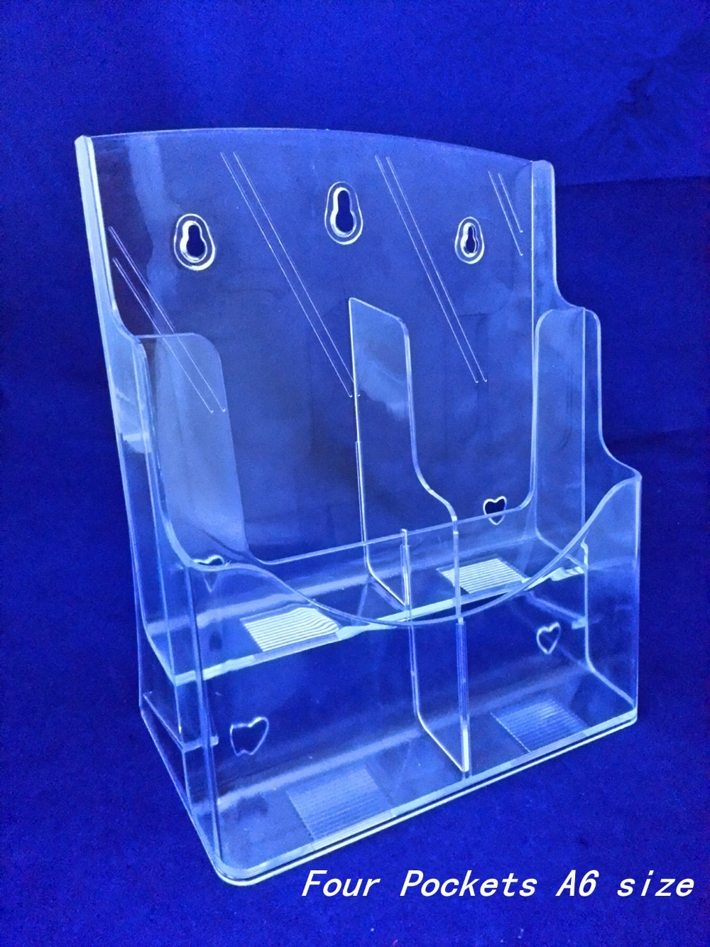 Clear A6 Four Pockets Plastic Acrylic Brochure Literature Pamphlet Display Holder Racks Stand To Insert Leaflet 30pcs