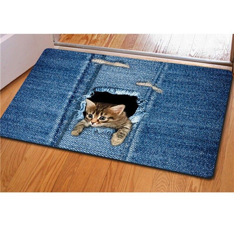 Alfombrilla para suelo de gato Kawaii, felpudo vaquero lavable para puerta de gato, alfombra decorativa antideslizante para baño, Alfombra de cocina, decoración del hogar, Tappeto Cucina