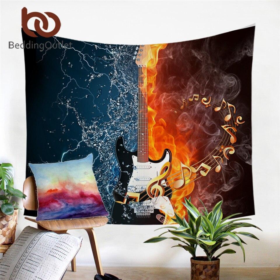 BeddingOutlet Bass Guitar Tapestry Wall Hanging 3D Print Bedspread Fire And Water Wall Carpet Art Music Home Decoration tapiz