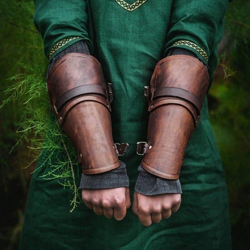 1 par de accesorios para Cosplay brazalete de cuero sintético ancho con encaje en el brazo, brazalete con armadura cruzada, pulsera de guantelete Medieval Steampunk