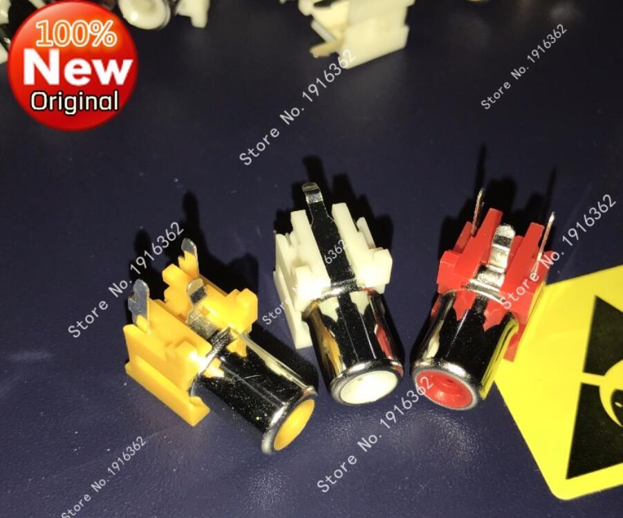 30 unids/lote RCA enchufe/conector hembra rojo/blanco/amarillo agujero único para AV/Audio/señal