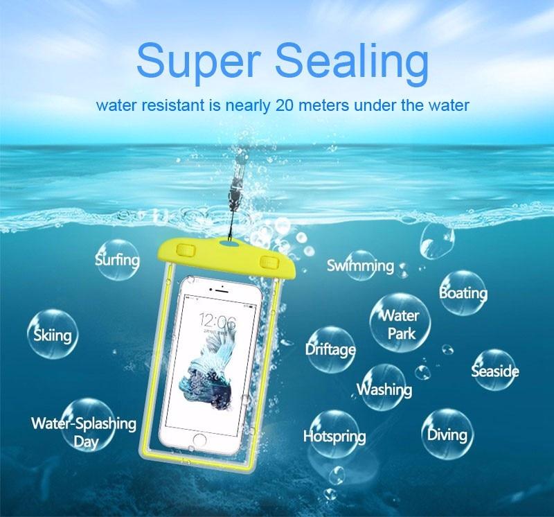 À prova dwaterproof água durável saco noctilucent subaquática caso para iphone 4 4S 5 5S 5c 6 s 6 s 7 plus ipod touch 5 telefone capa traseira