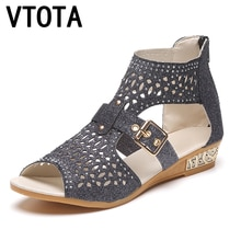 VTOTA Women Boots Fashion Ankle Boots For Women Summer Boots 2017 Bota Feminina Casual Women Boots Wedges Women Rome Shoes B66