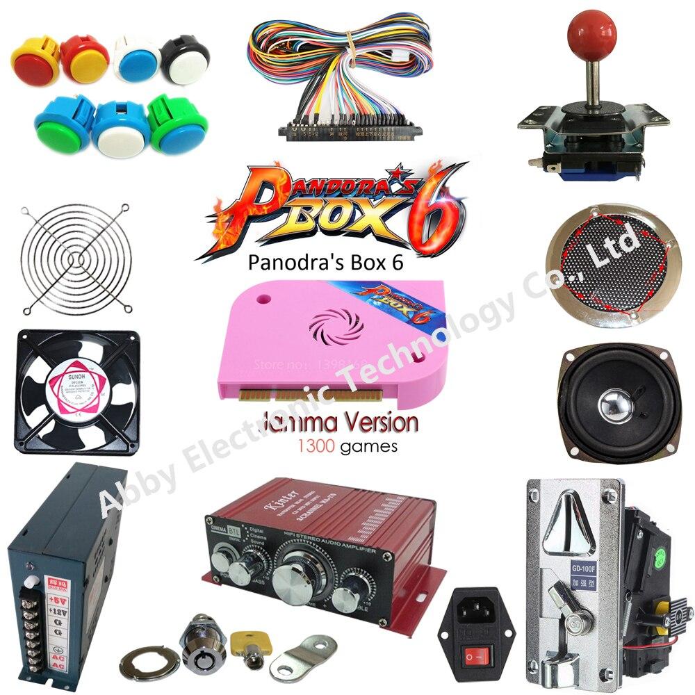 Juego de Arcade de 2 jugadores DIY con caja Pandora 6 joystick estilo americano botón moneda puerta moneda mech Jamma arnés para Arcade Cabine