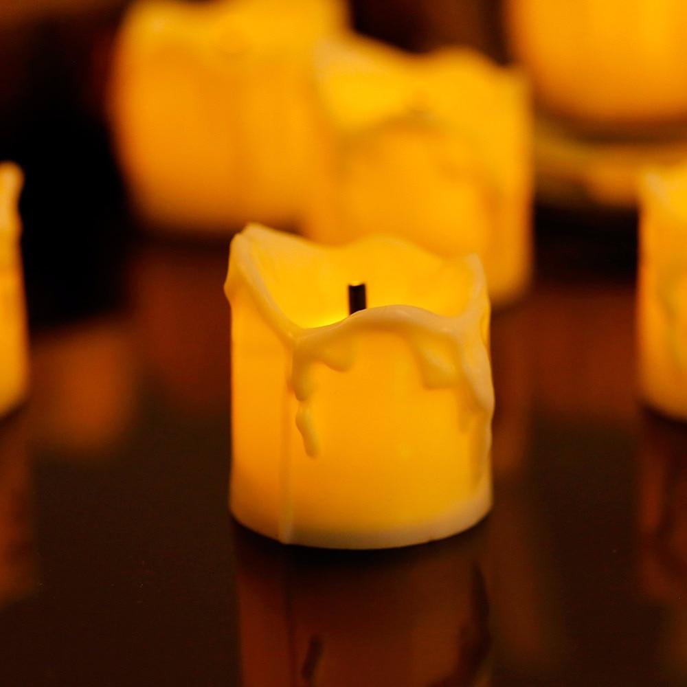 Paquete de 12 velas amarillas parpadeantes decorativa, velas de boda con batería...