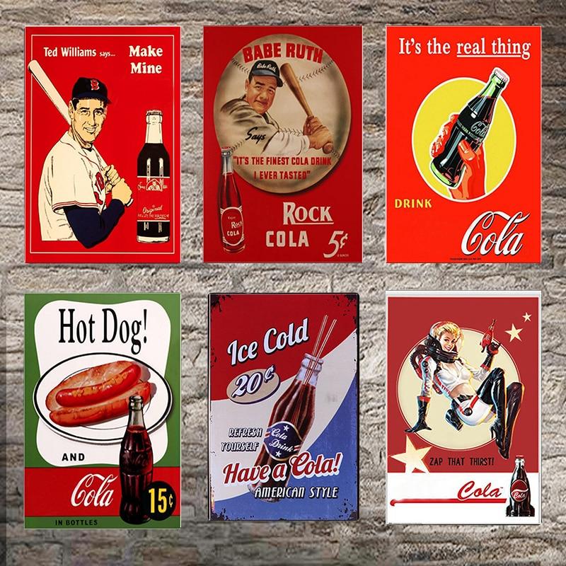 Cartel de Metal de Cola, decoración de paredes para Bar, cartel de estaño, póster clásico de Metal, decoración del hogar, pintura de placas de arte Poste 1001 (654)