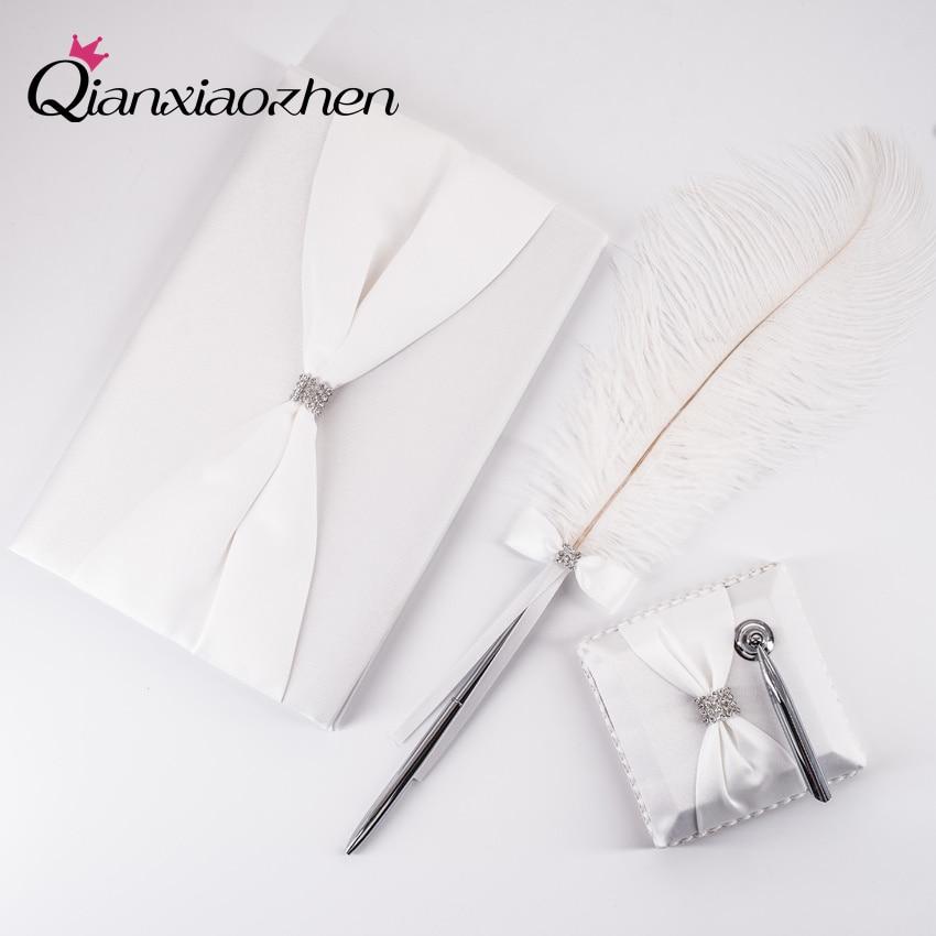 Qianxiaozhen-libro de visitas y bolígrafo de Boda, conjunto de libro de invitados,...