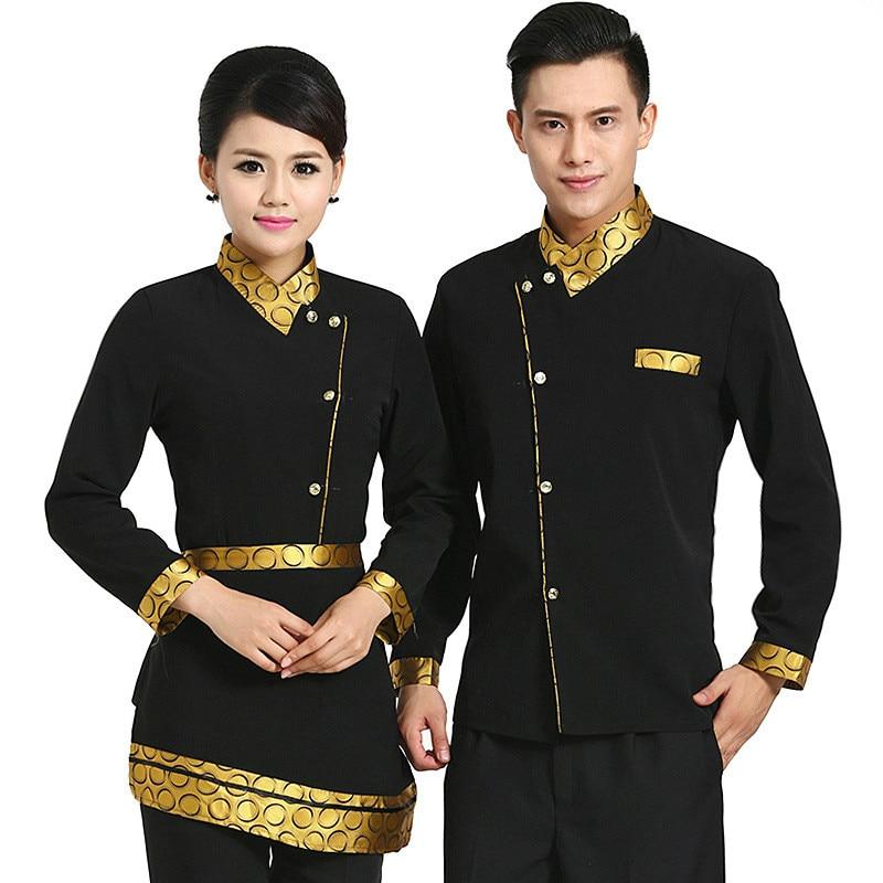 Китайская униформа для ресторанов, новый дизайн, школьная форма с длинным рукавом для женщин и мужчин