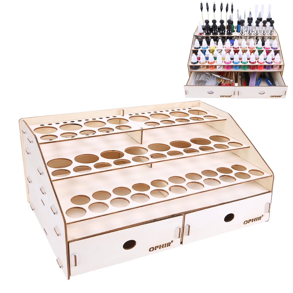 OPHIR Paints Rack with Drawers Acrylic Paints Tattoo Ink Wood Rack DIY Wood Storage Rack Up to 80 Bottles of Paints MG040 enlarge