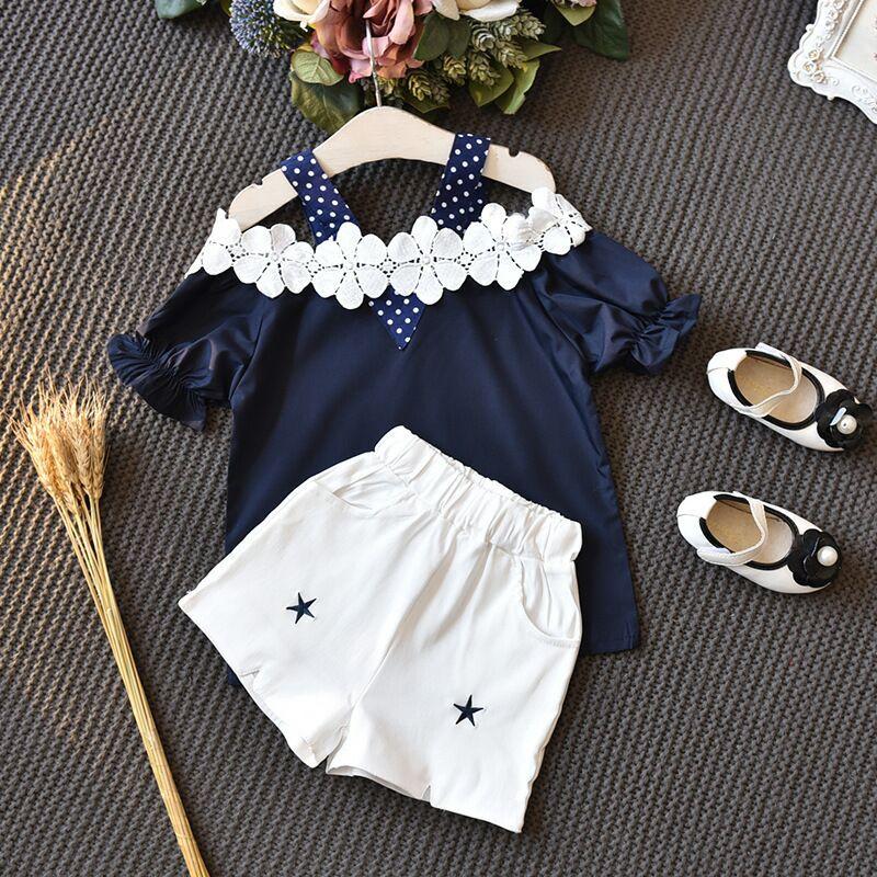 Crianças Meninas Conjuntos de Roupas de Verão 2019 Nova Flor Ombro Off Cotoon Camisa + Calça Curta Estrela 2 PCS Menina Ternos roupa das crianças