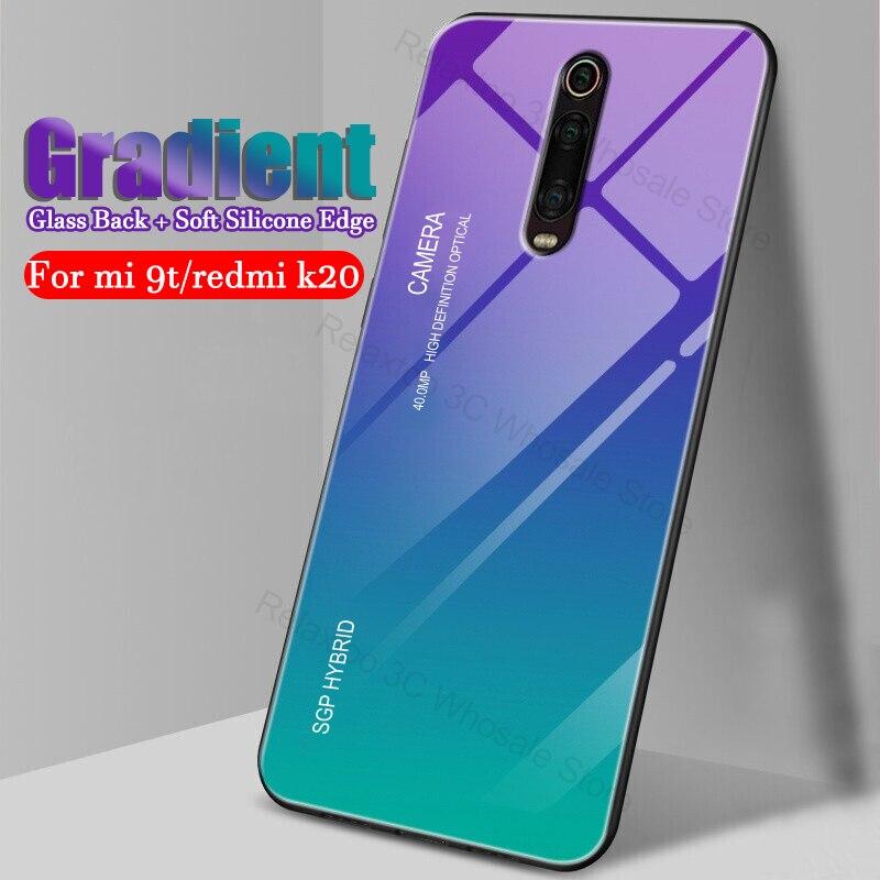 Capinha para xiaomi mi 9 t vidro gradiente capa de telefone inteligente para xiaomi redmi k20 pro caso em xio mi k 20 9 t k20pro 9tpto 20k t9 coque