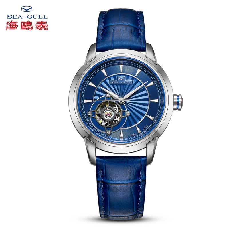 SEA-GULL Business Watches Men's Mechanical Wristwatches Blue Simple 30m Waterproof Leather Buckle Silver Gold Male Watches 1014K