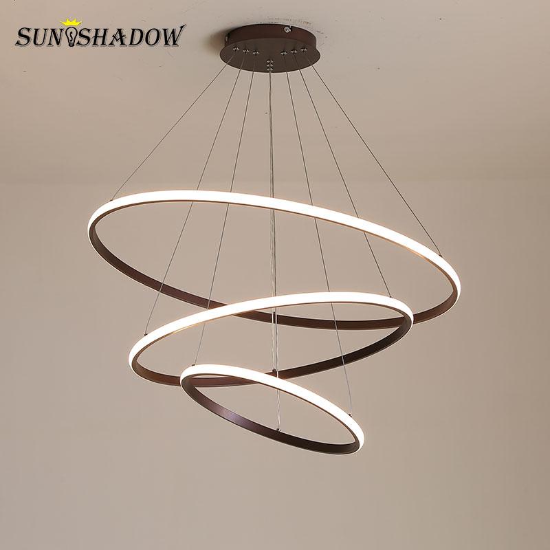 Lámpara de araña LED moderna con brillo exterior, lámparas blancas y negras y de café, lámpara de techo Led, iluminación para sala de estar, cocina, comedor