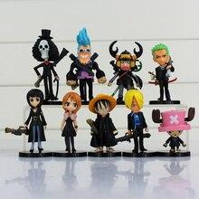 ONE PIECE Luffy Nami Chopper Robin Zoro Sanji Brook Golden Lion Shiki pvc figure dolls 9pcs/lot all black clothes cute mini toy