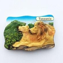 Babelemi pintado a mano África Tanzani 3D imán de resina para nevera Leones parejas refrigerador turismo recuerdo coleccionables regalo