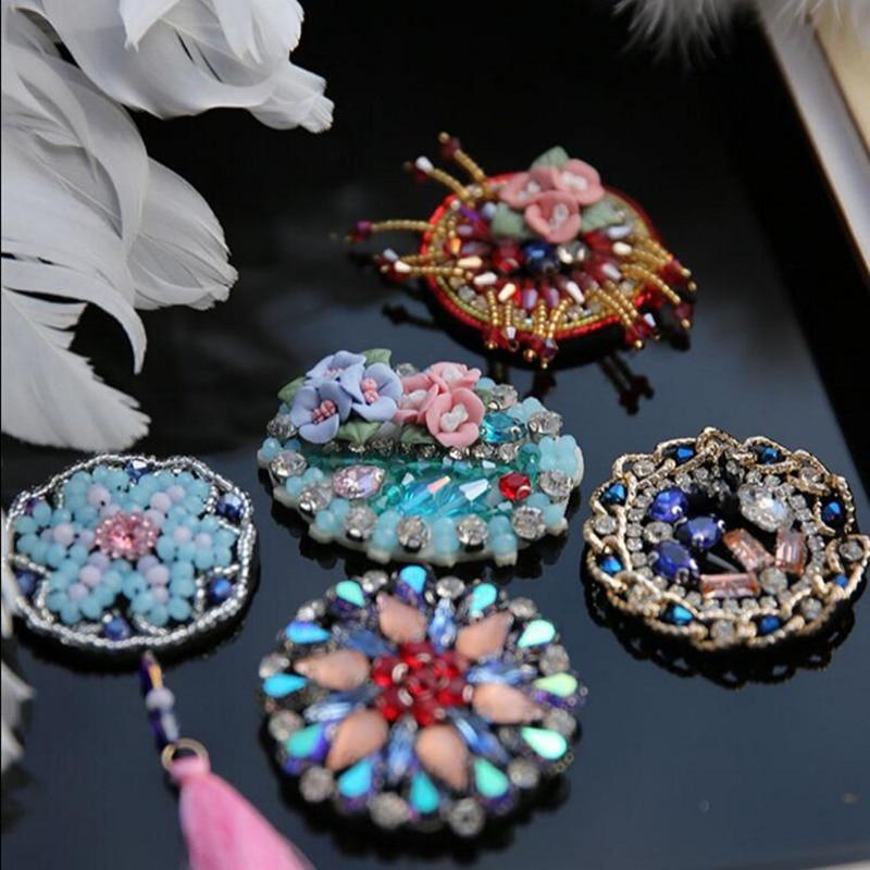 Parches de diamantes de imitación hechos a mano con cuentas de estilo nórdico para ropa, broches de cristal diy, materiales para el cabello