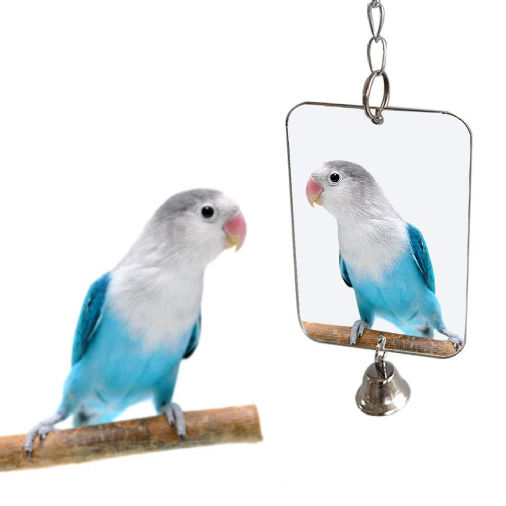 1Pc Parrot Bird Parakeet Hanging Mirror Bell Play Toy Cage Decoration Pet Supplies