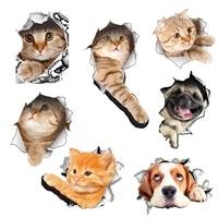 GHMY     autocollant mural en vinyle avec chats vifs  3D  pour salle de bains  toilettes  salon  decoration  Animal